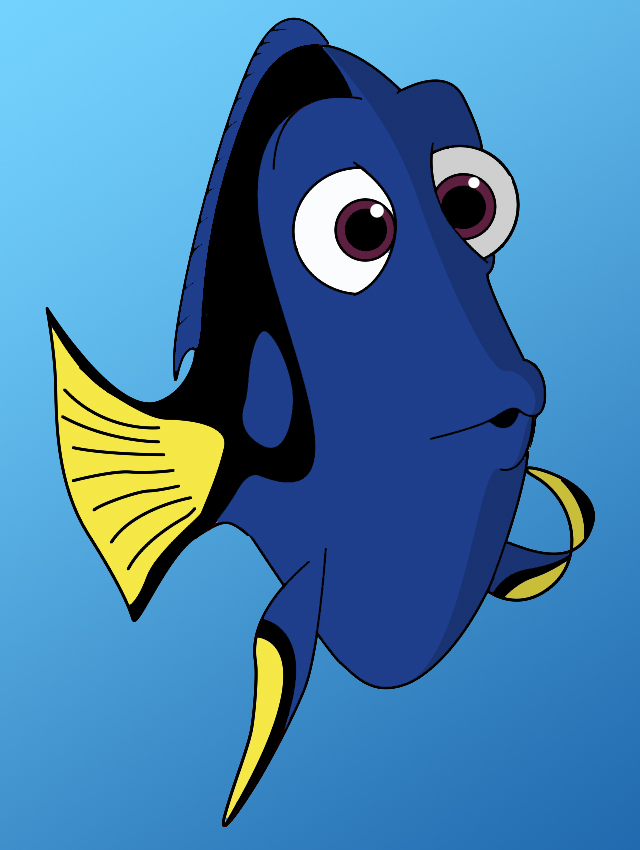 640x850 How To Draw Dori From Finding Nemo