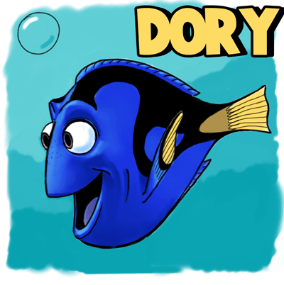 400x402 How To Draw Dory From Pixars Finding Nemo In Easy Steps Drawing