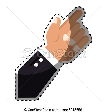 450x470 Sticker Hand With Finger Pointing Up Vector Illustration Clipart