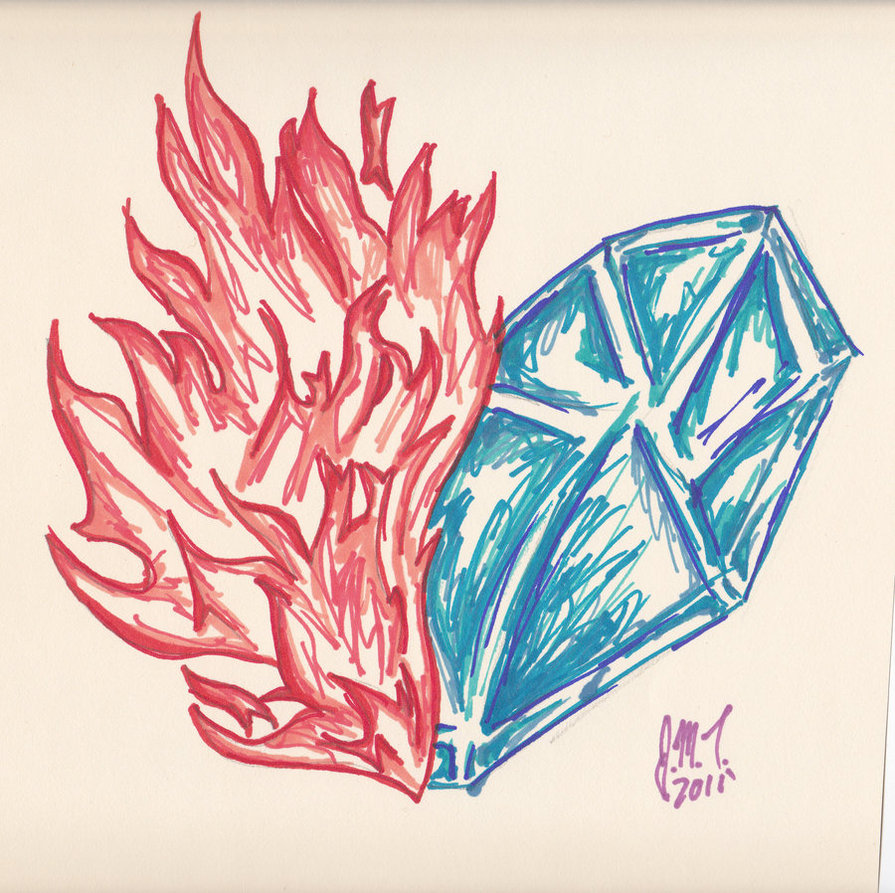 895x893 Fire And Ice Heart By Lovablepanda