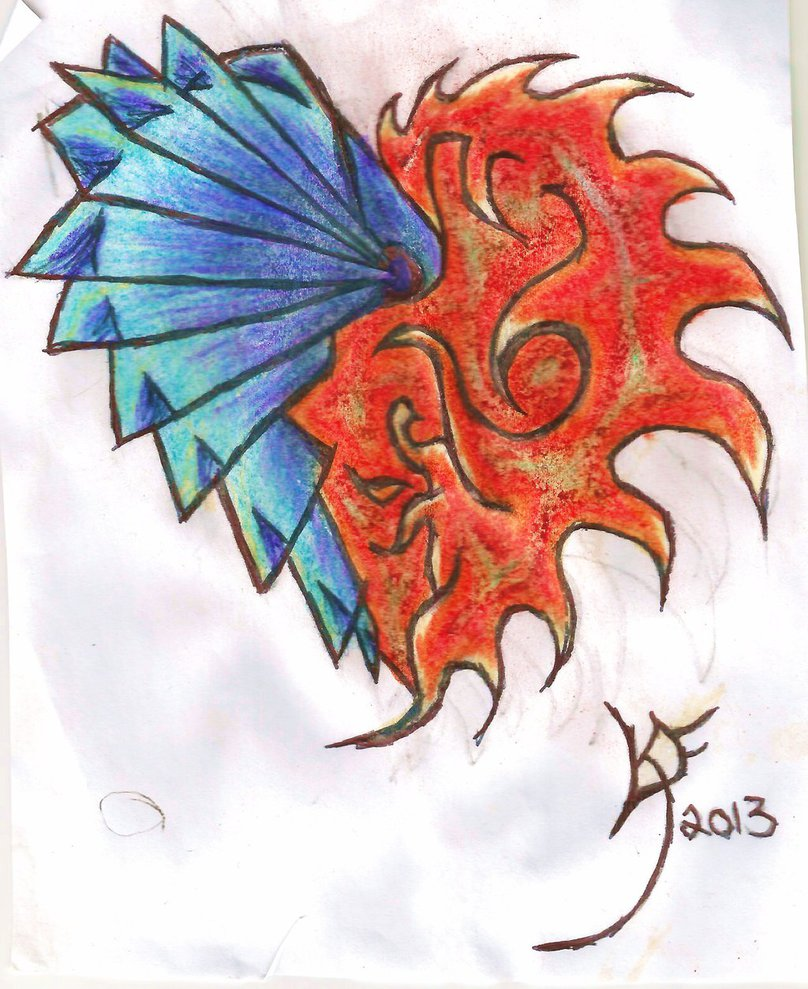 808x989 Fire And Ice Heart By Kiraxaxelxlawlet