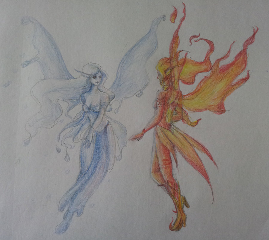 900x804 Fire And Ice Fairies By Fiavie