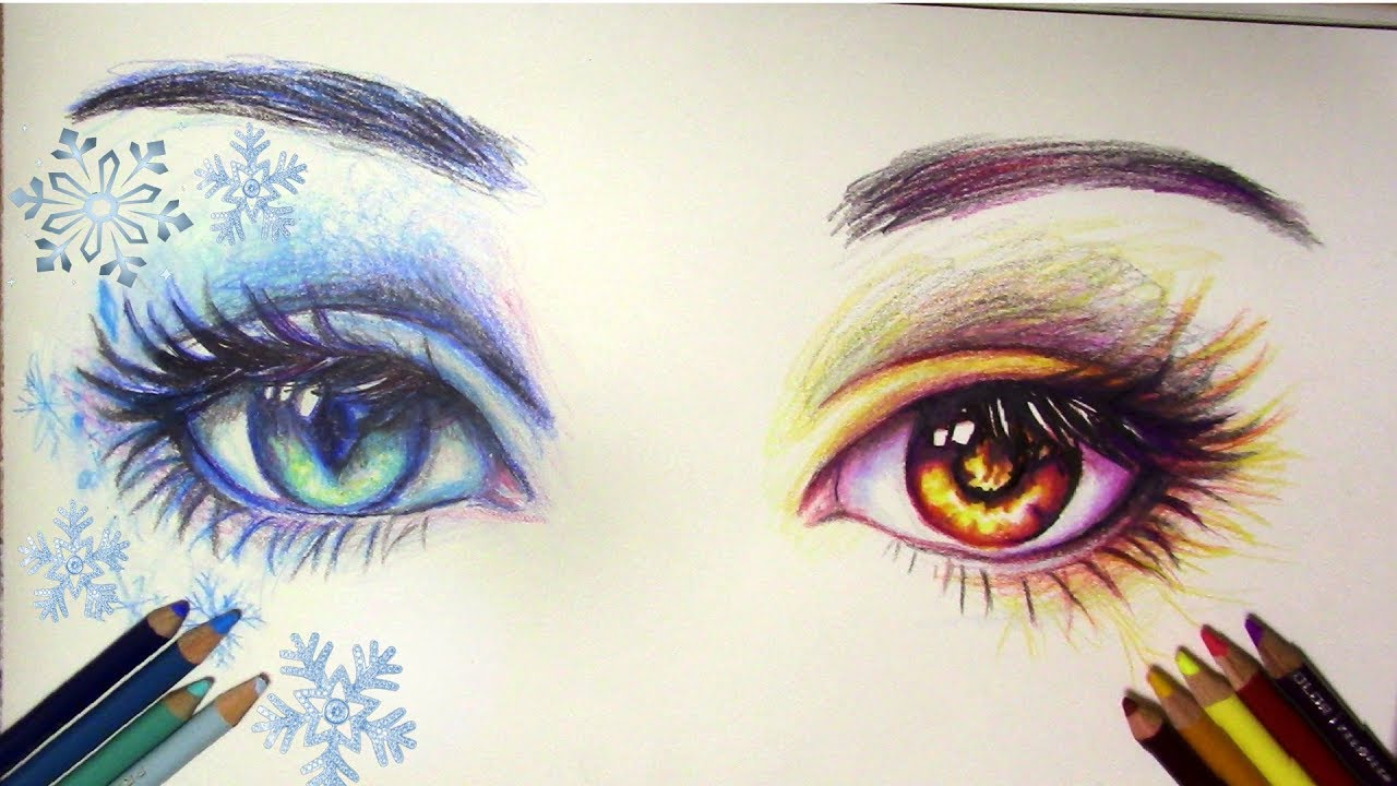 1280x720 How To Draw Fire And Ice Eyes Time Lapse Drawing