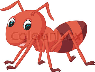 320x244 Cute Ant Cartoon With Red Pencil Stock Vector Colourbox