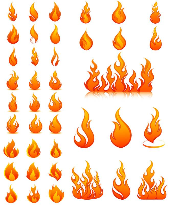 669x800 5 Sets With 40 Vector Flame Templates And Spurts Of Flame For Your