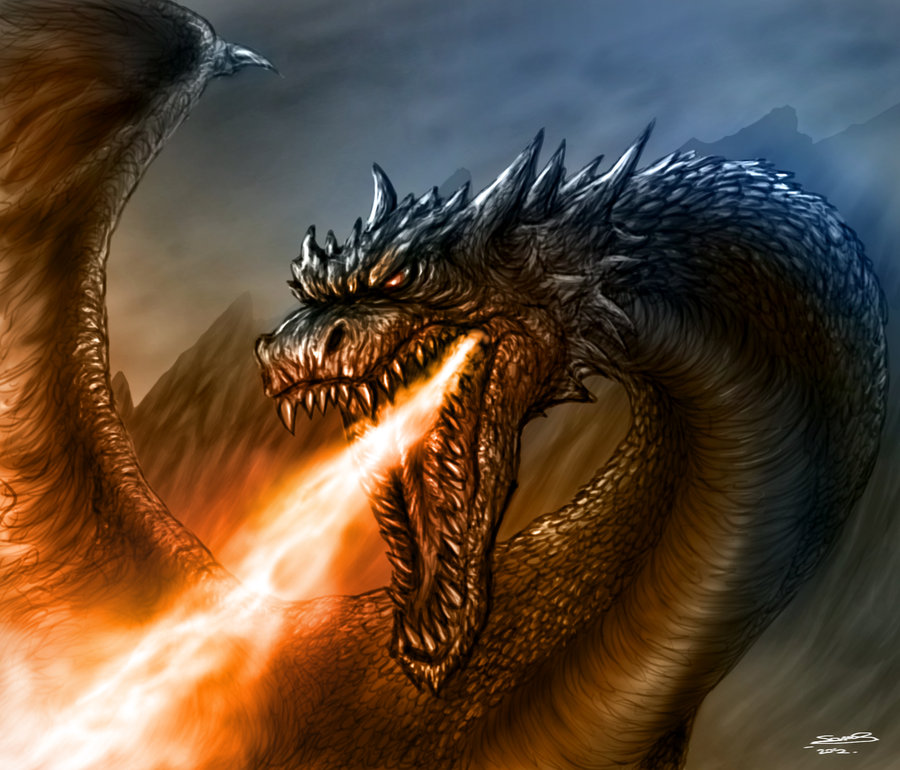900x770 Fire Breathing Dragon By Therisingsoul