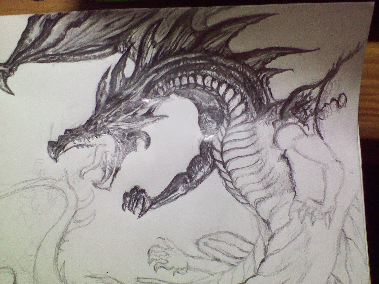 1600x1200 Graphite Drawings Fire Breathing Beast