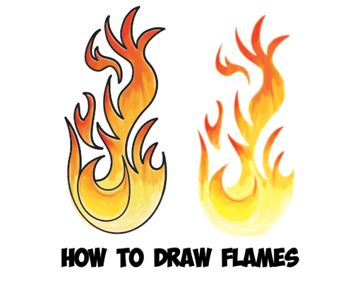 500x400 How To Draw Flames And Drawing Cartoon Fire Drawing Tutorial