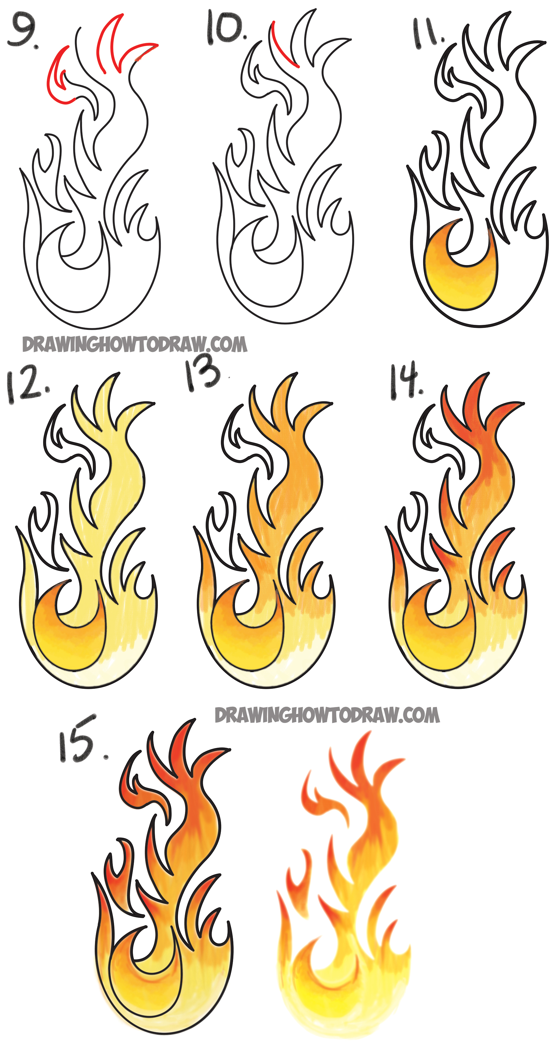 1800x3394 How To Draw Flames And Drawing Cartoon Fire Drawing Tutorial