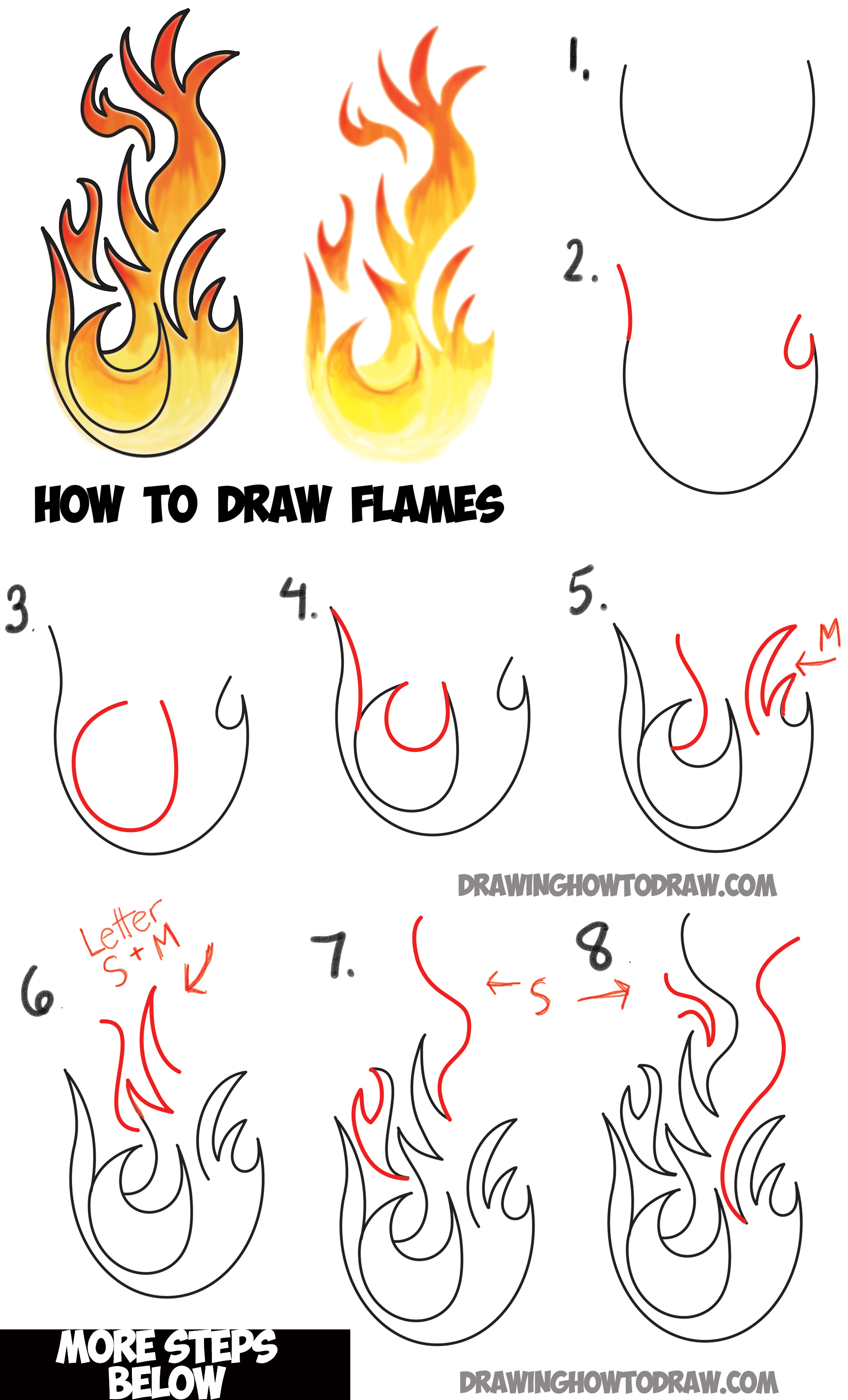 1800x2973 How To Draw Flames And Drawing Cartoon Fire Drawing Tutorial