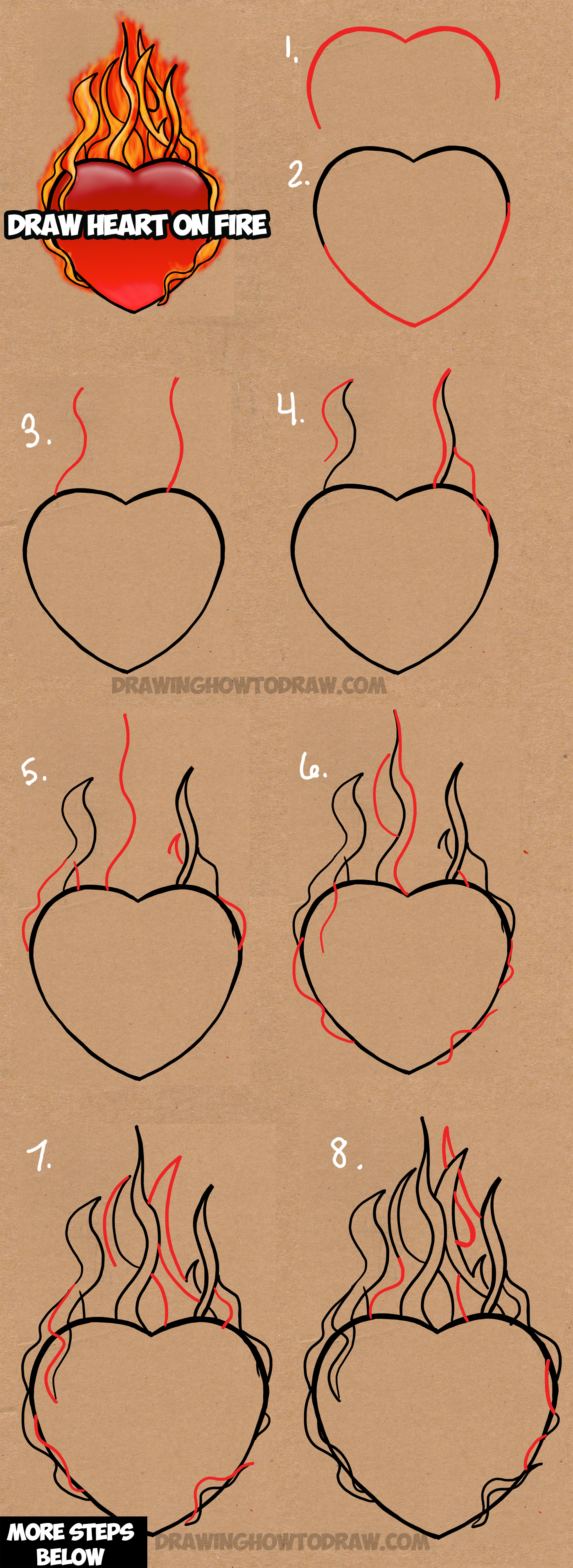 1400x3830 How To Draw A Flaming Heart On Fire With Step By Step Drawing