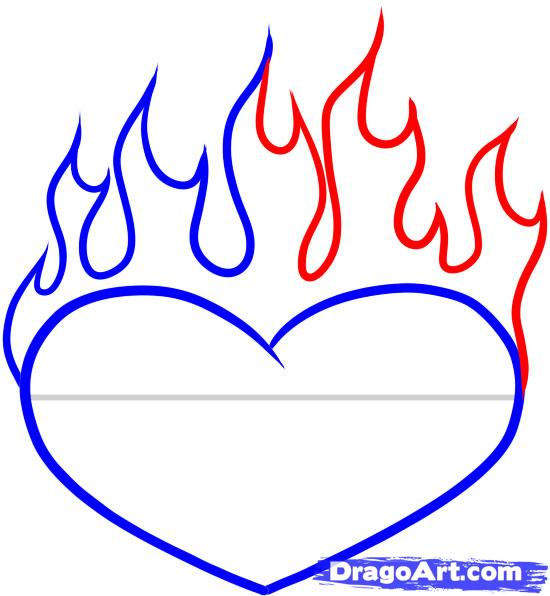 550x596 How To Draw A Heart On Fire, Step By Step, Tattoos, Pop Culture