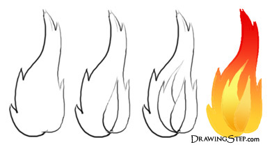 391x211 By Step Flame Drawing Lessons