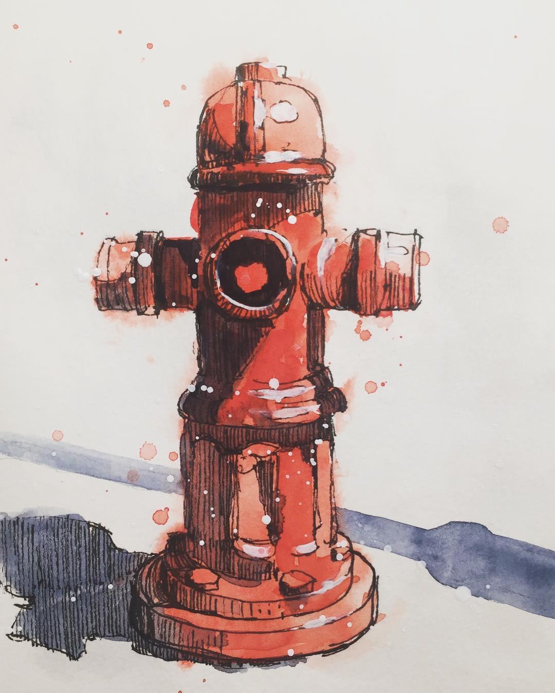 1080x1349 Fire Hydrant Urban Sketch By Jiri Zraly My Original Paintings