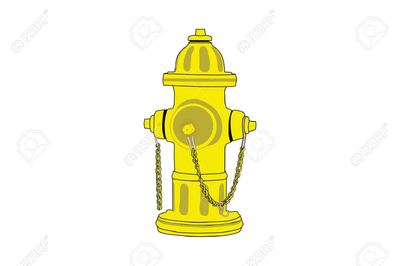 1300x864 Isolated Drawing Of A Yellow Fire Hydrant. Royalty Free Cliparts