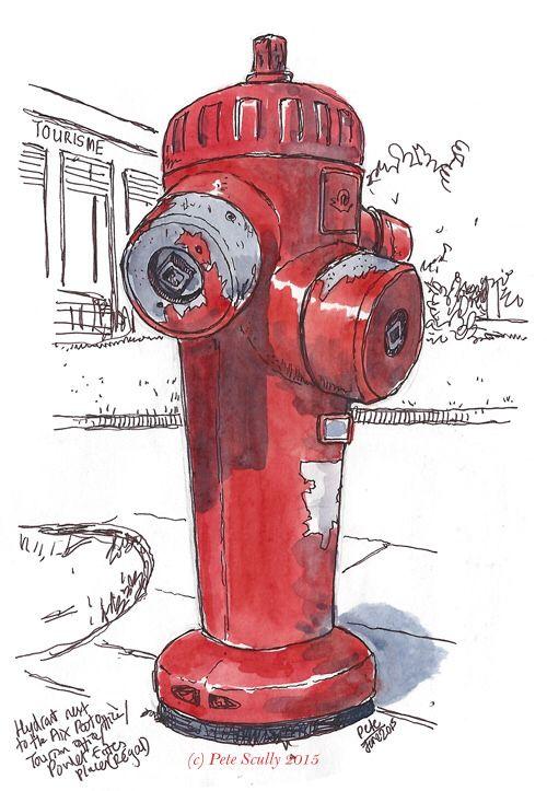 500x723 Aix Hydrant 2 Sm Urban Sketch Sketches, Watercolor