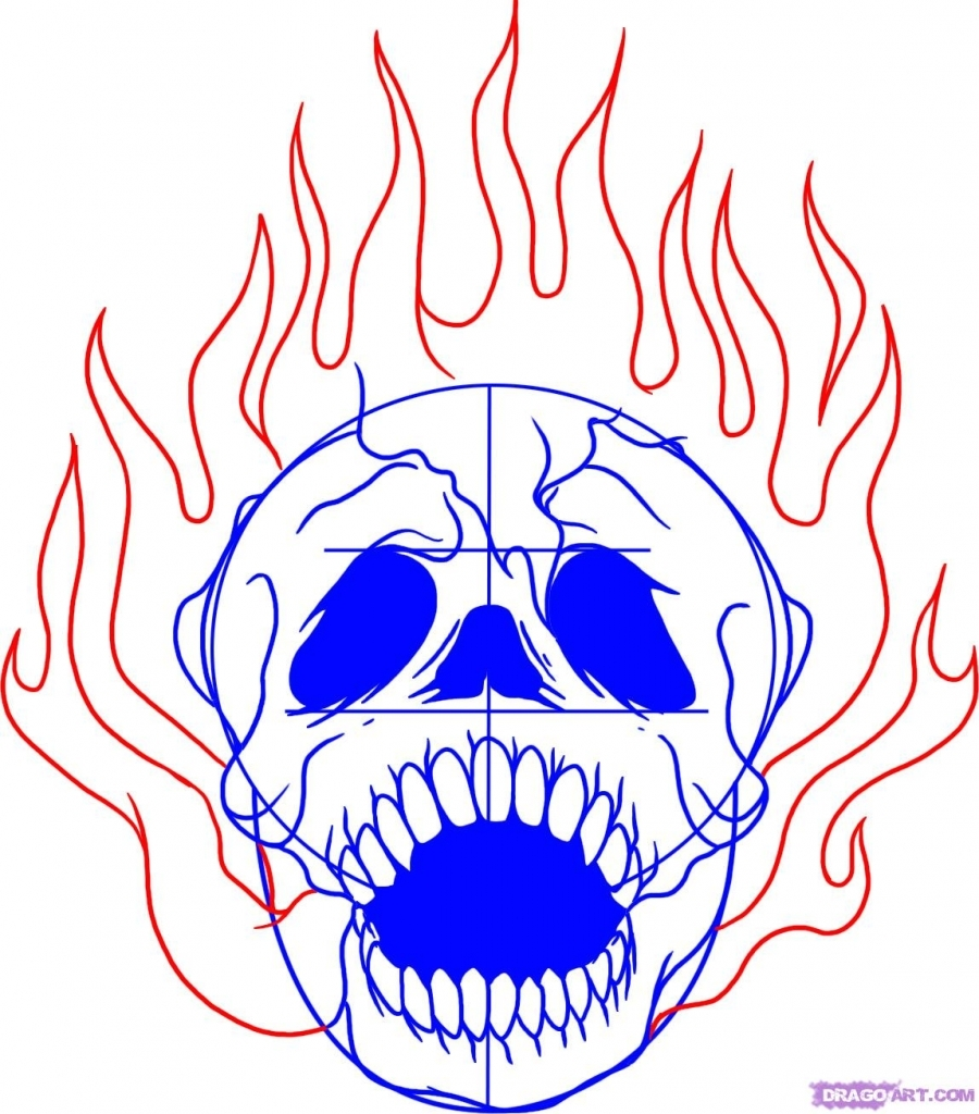 900x1024 Drawings Of Fire How To Draw A Skull On Fire Step Step Skulls Pop