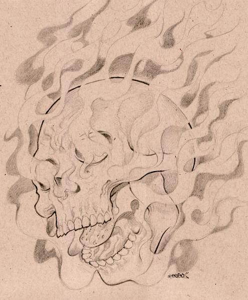 495x598 Fire Skull By Deseoe