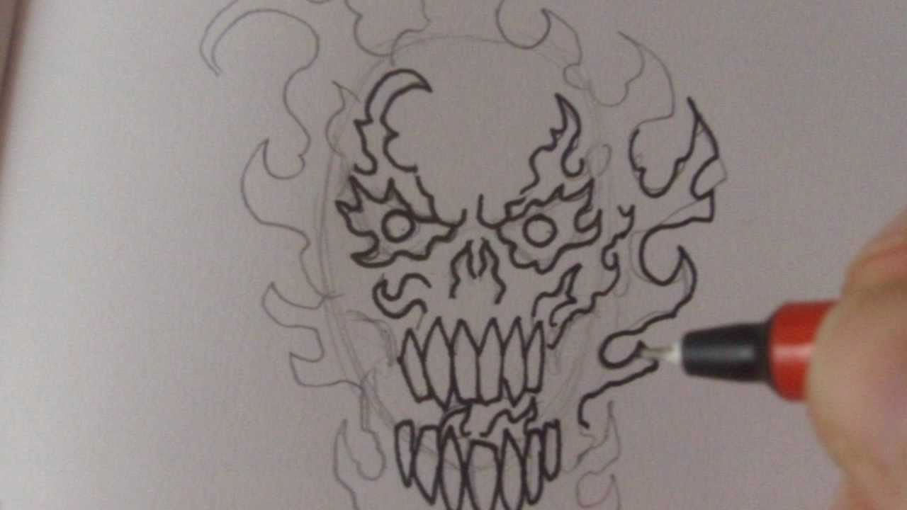 1280x720 How To Draw A Fire Skull