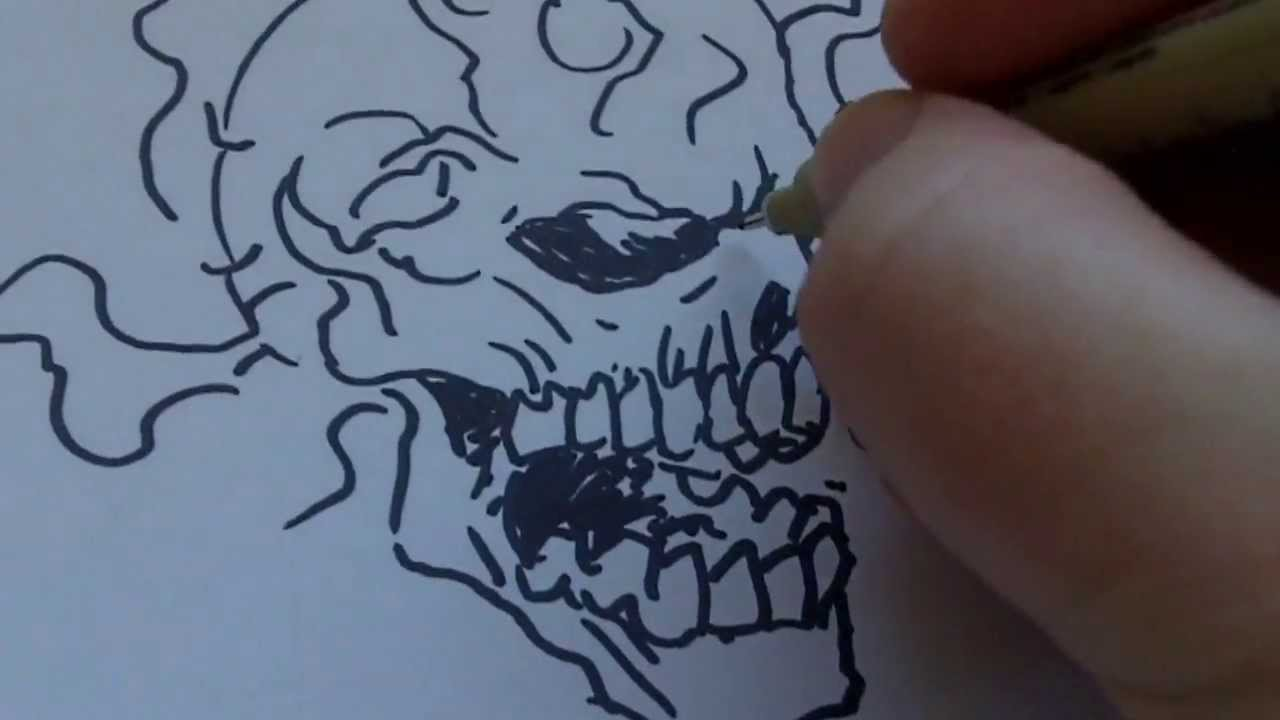 1280x720 How To Draw A Skull On Fire With Sharpie