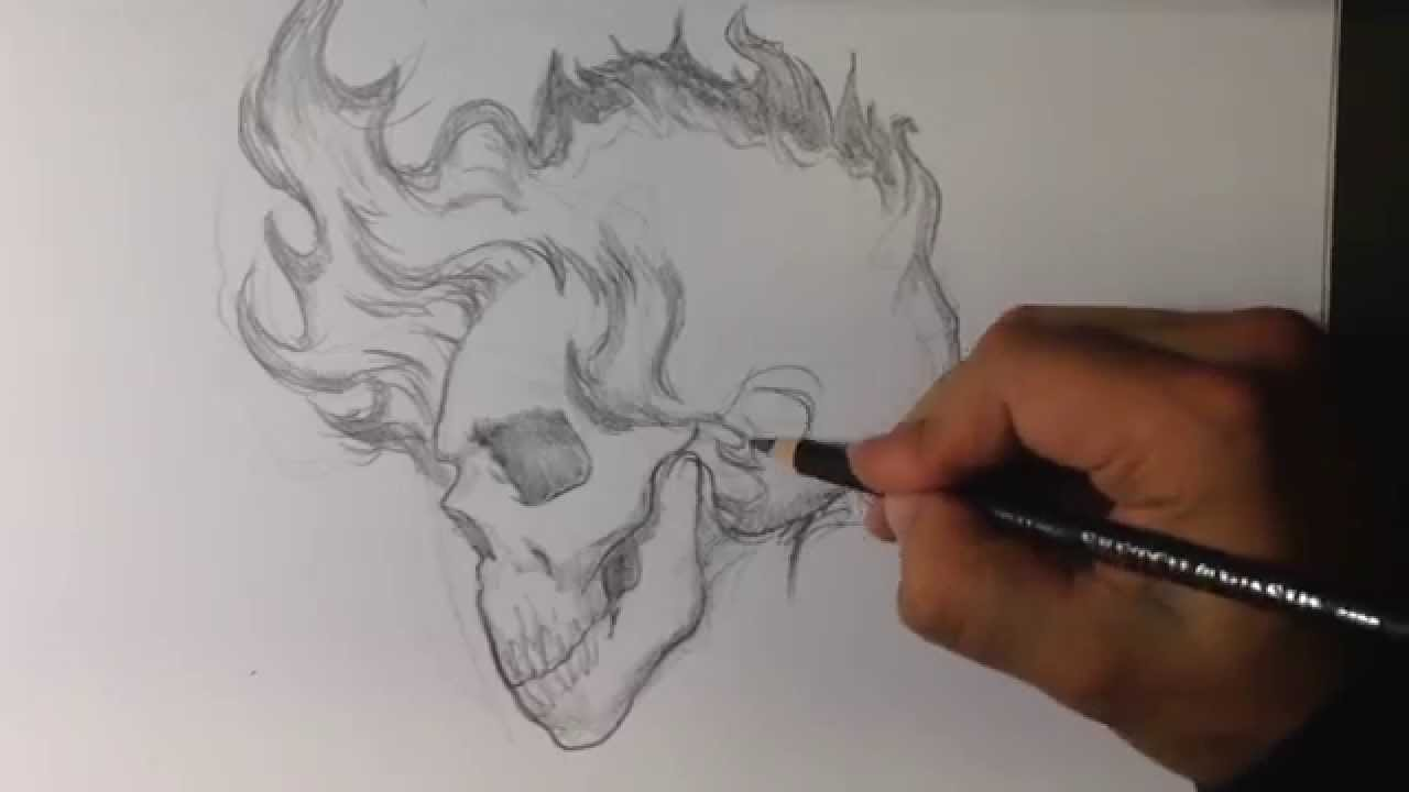 1280x720 How To Draw A Skull With Fire Hair Tattoo