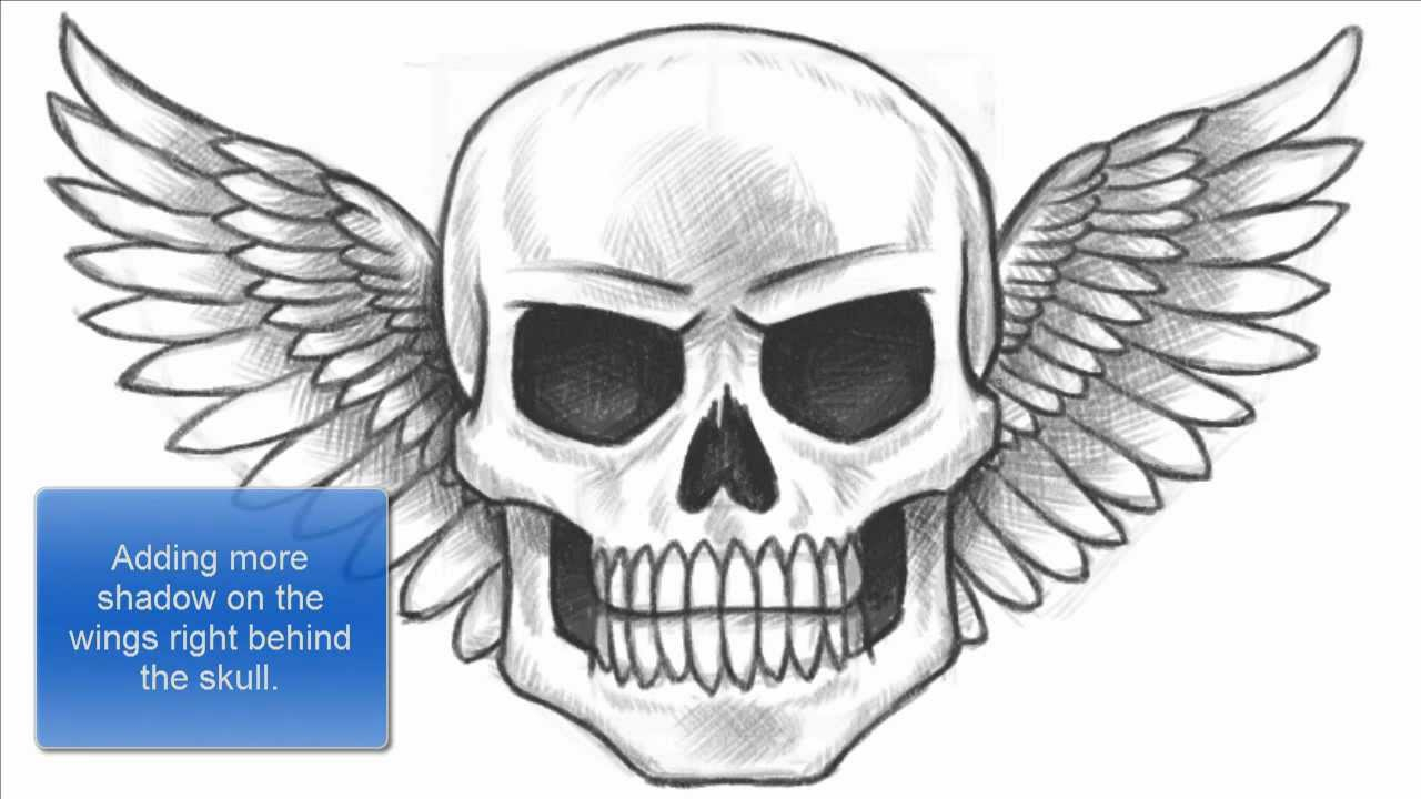 1280x720 Skull On Fire Drawing How To Draw A Skull With Wings (Part 1 Of 2
