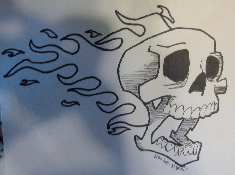 900x671 Skull With Fire By Bkw53 On DeviantArt