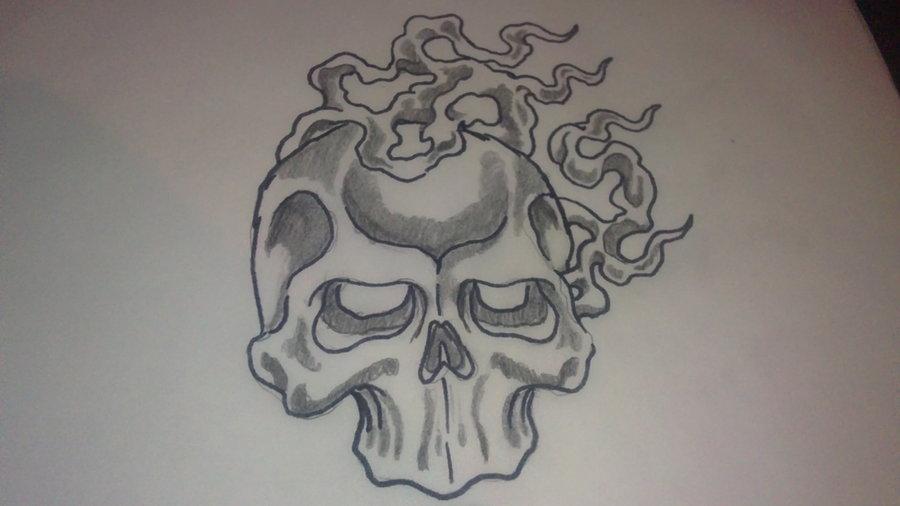 900x506 Fire Skull Sketch By Thedarkestpassenger