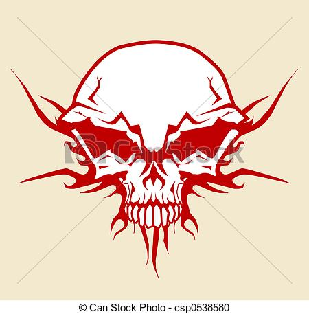 450x457 Illustration Of Human Skull With Tribal Fire Ornaments Stock