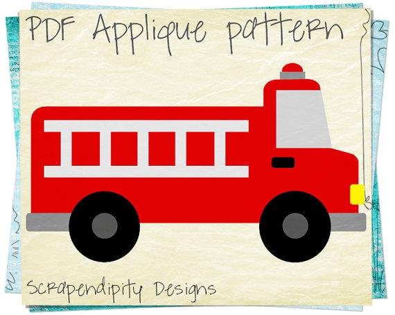 570x454 Fire Truck Applique Pattern Emergency Vehicle Applique