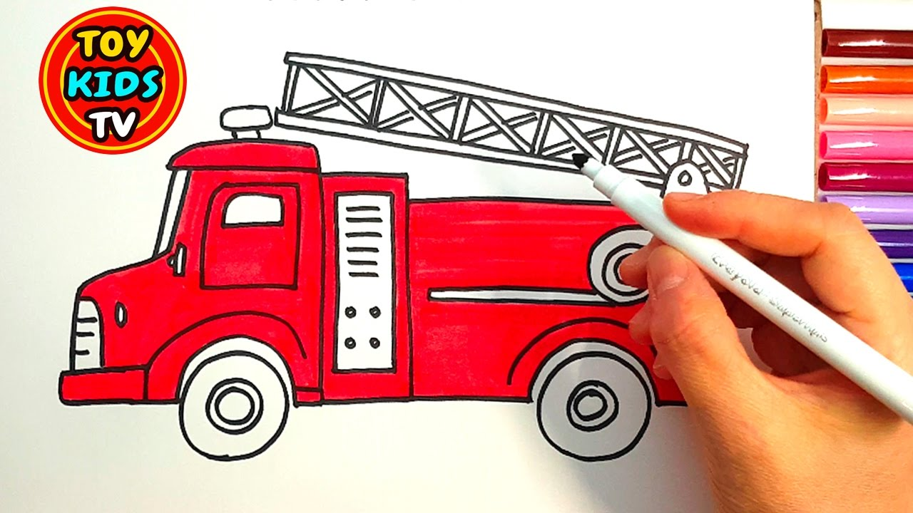 1280x720 How To Draw A Fire Truck And School Bus Learn How To Color