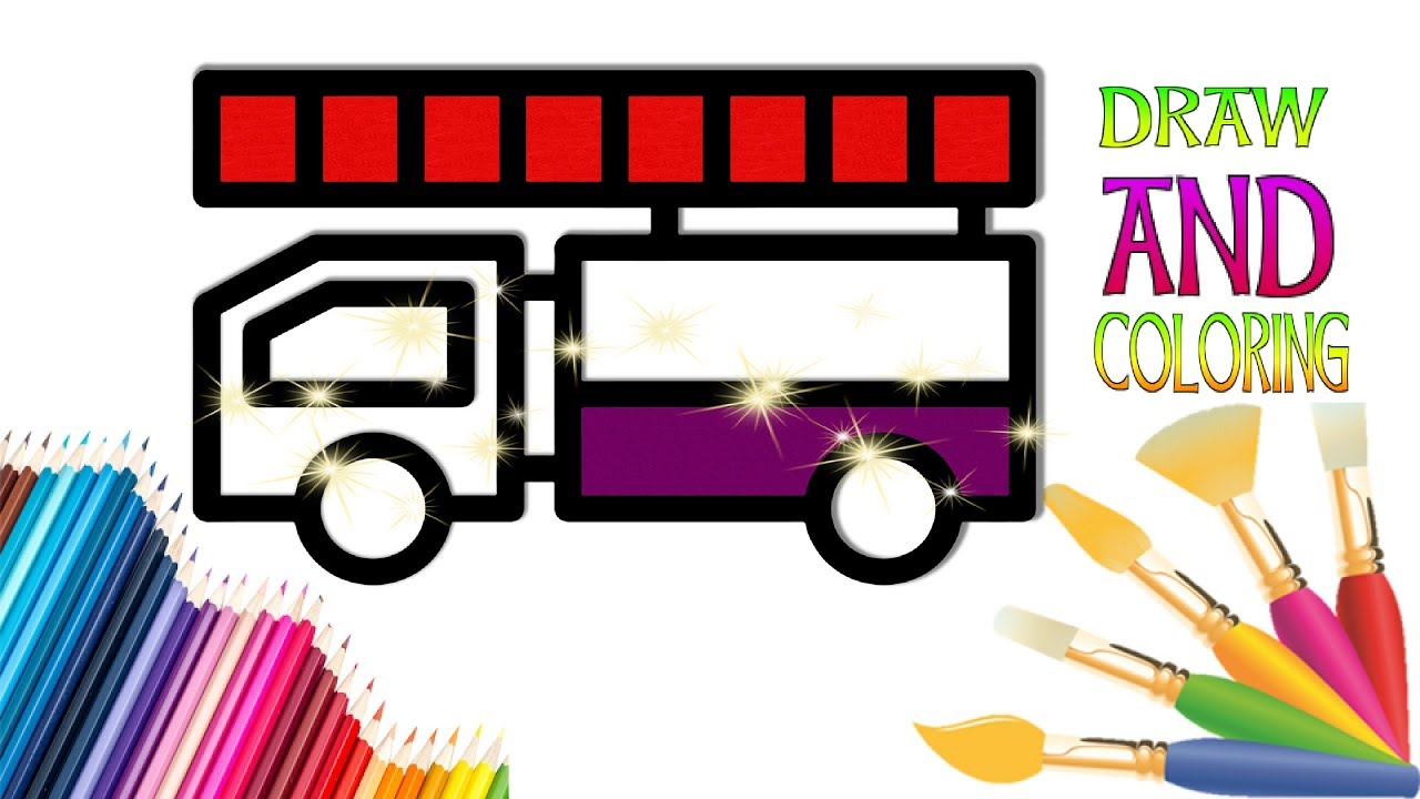1280x720 How To Draw A Fire Truck Easy For Children Draw And Coloring