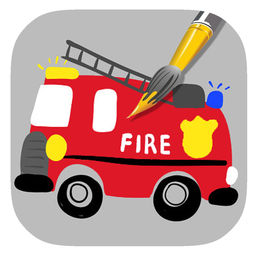 256x256 Draw Fire Truck Coloring Book Game For Kids By Lune Sumnoi