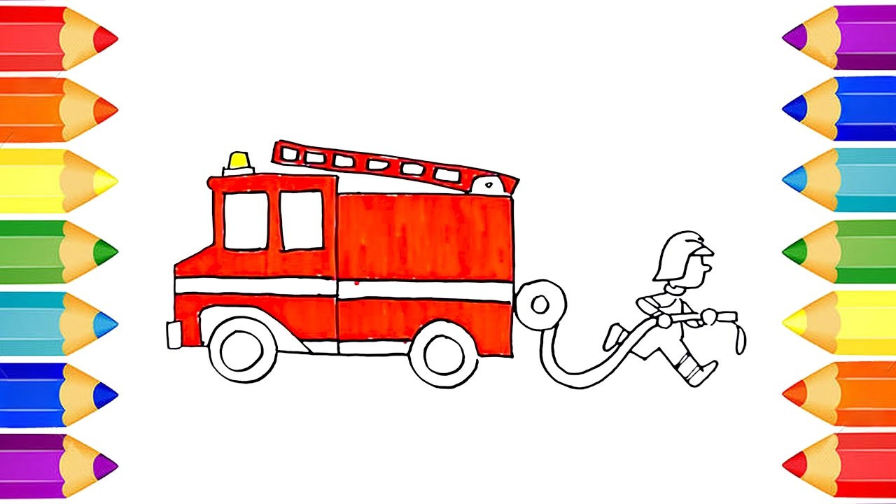 1280x720 Draw And Coloring Fire Truck How To Draw For Kids Learning