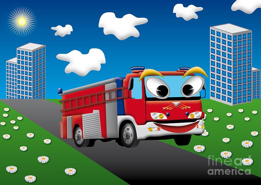 900x636 Fire Truck For Kids Digital Art By Fabian Roessler