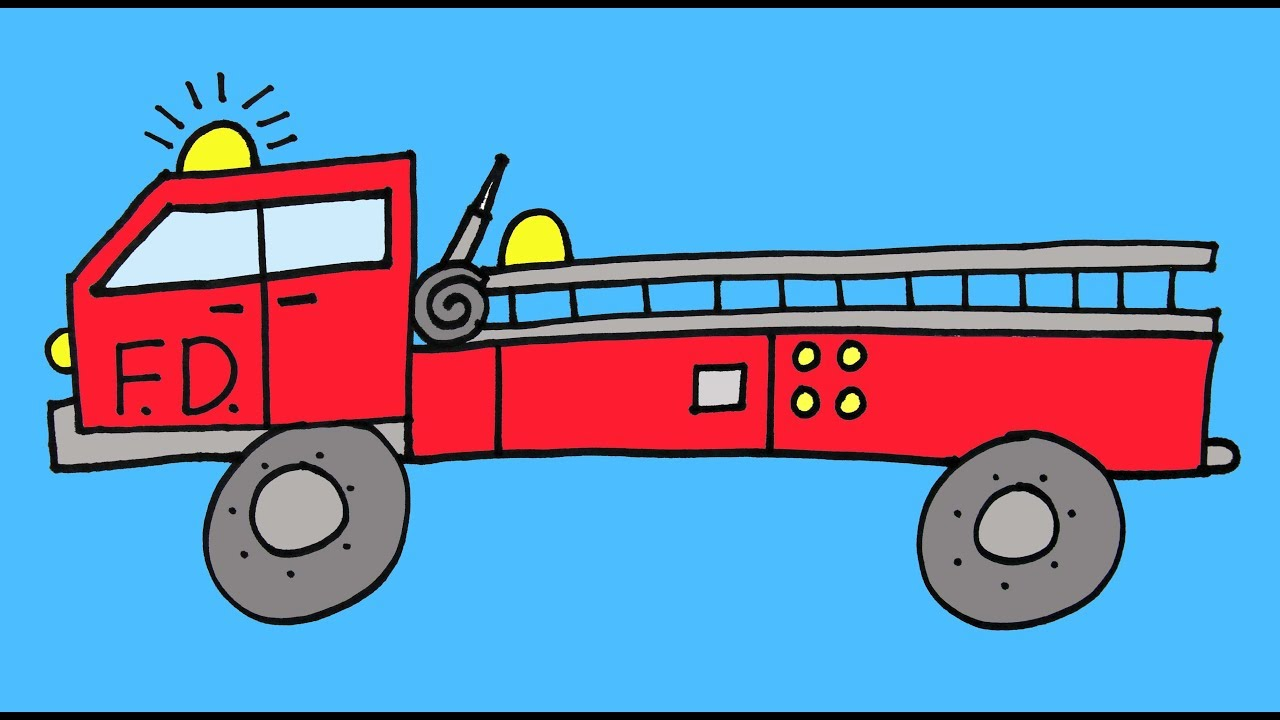 1280x720 How To Draw A Fire Truck Firetruck Step By Step Drawing Lesson