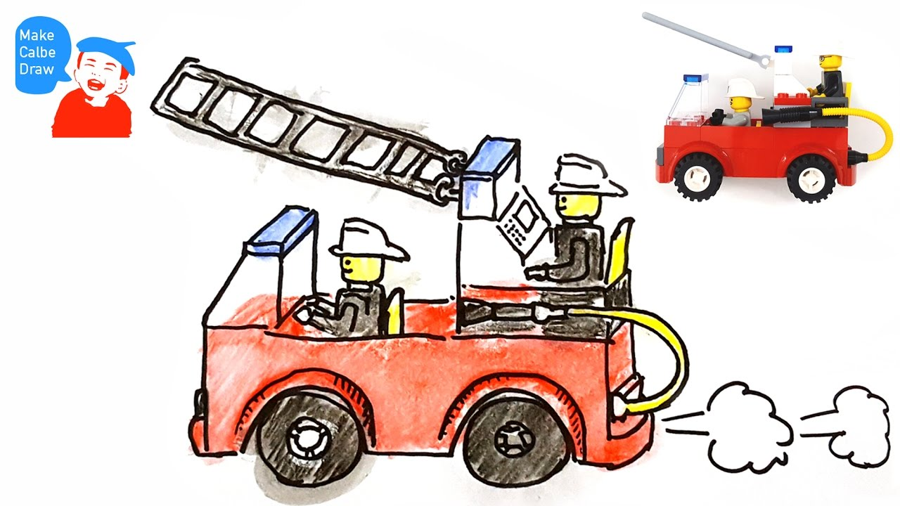 1280x720 How To Draw A Fire Truck For Kids With Lego Fire Truck