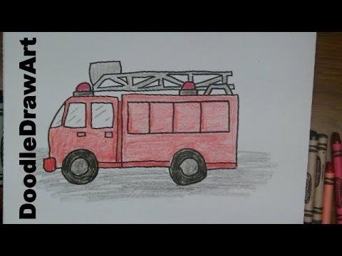 480x360 How To Draw A Firetruck! Draw This Cartoon Firetruck