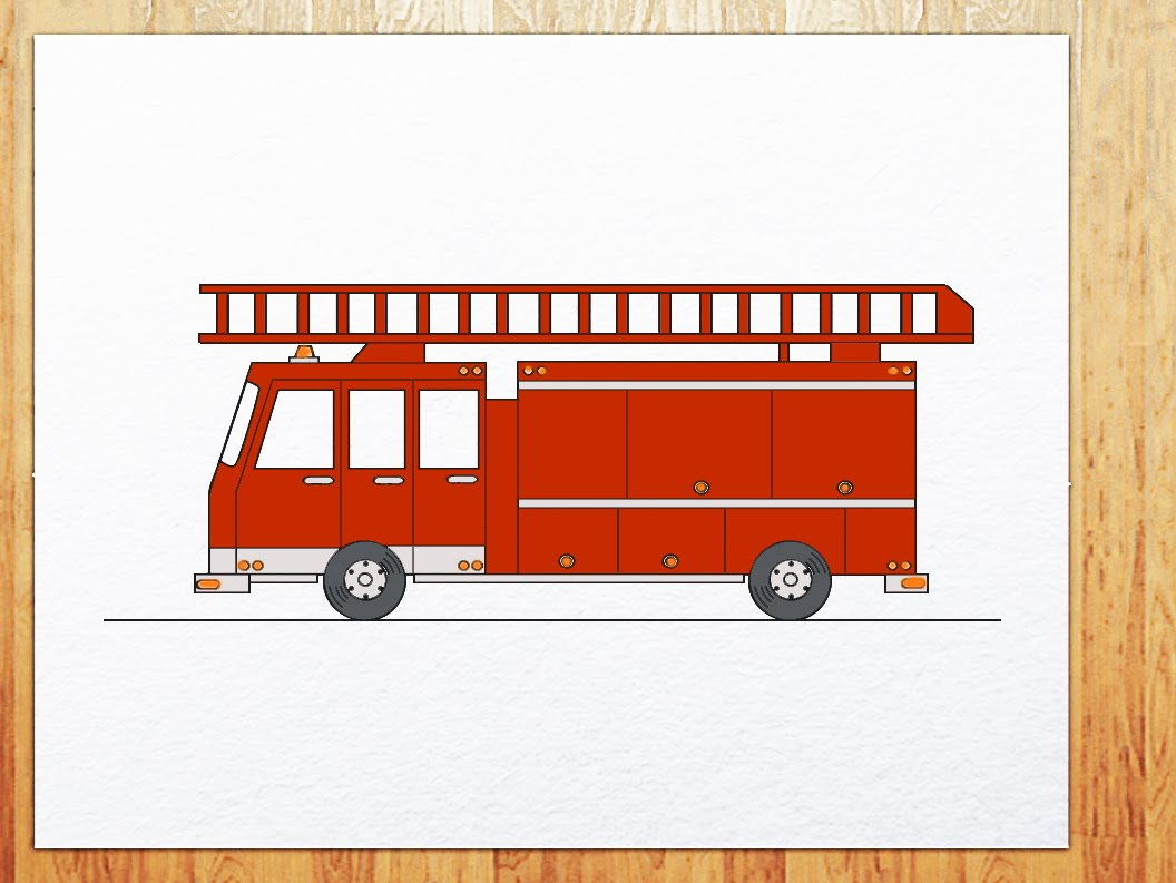 1056x793 How To Draw Fire Truck