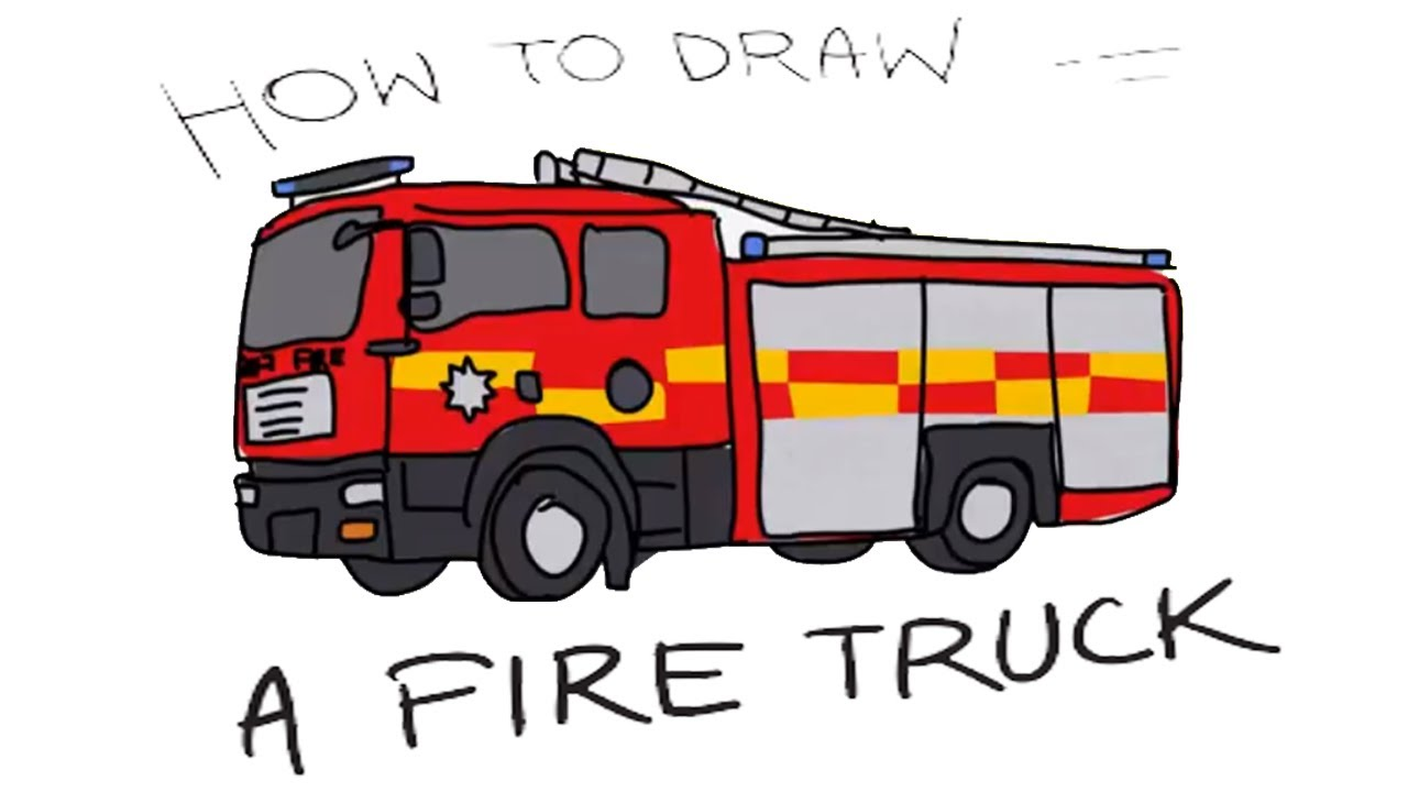 1280x720 How To Draw A Fire Truck For Kids