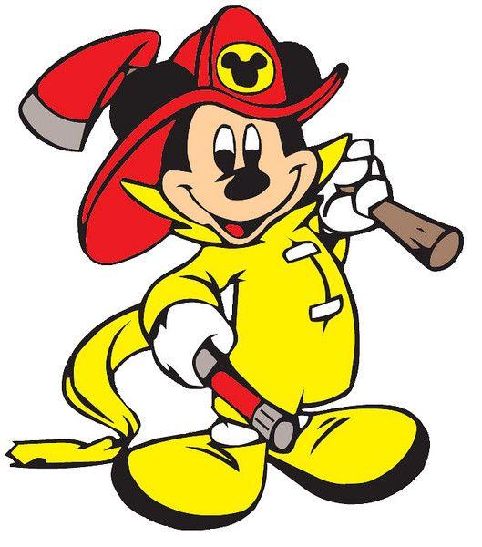 529x600 Cross Stitch Chart, Pattern. Mickey, Mouse, Fireman, Fire, Fighter