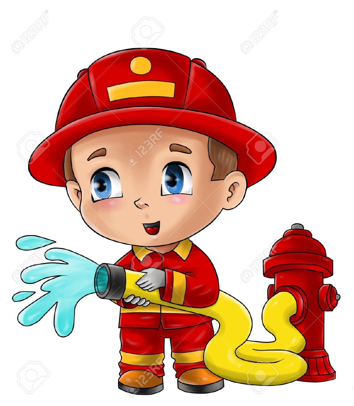 1136x1300 Cute Cartoon Illustration Of A Fireman Stock Photo, Picture