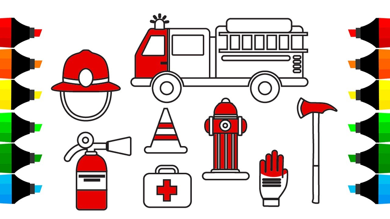 1280x720 How To Draw Fire Truck And Firefighter Icons Coloring Pages