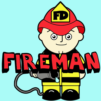 400x400 How To Draw A Cartoon Fireman In Easy Steps Drawing Tutorial