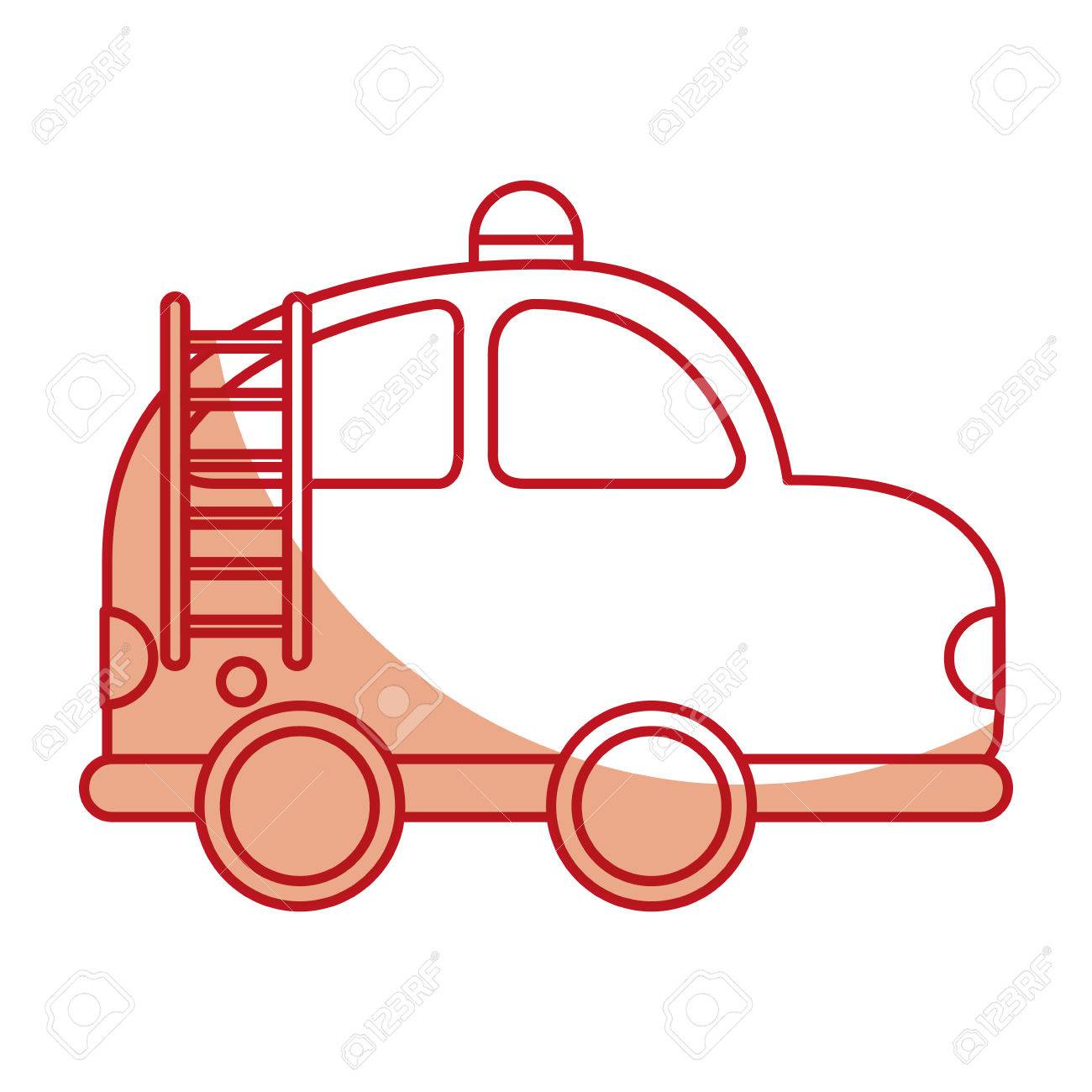 1300x1300 Firefighter Car Drawing Icon Vector Illustration Design Royalty