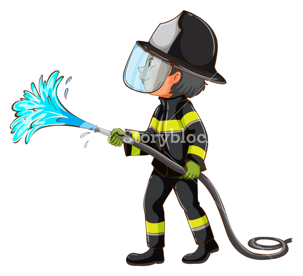 1000x910 Illustration Of Simple Drawing Of Fireman Holding Hose On