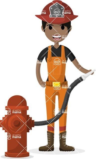 387x640 Indian Firefighter Character Design Illustration. Flat Design