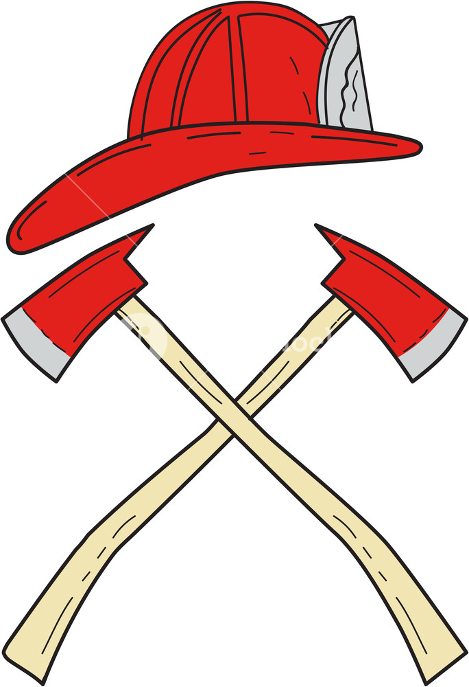 684x1000 Drawing Sketch Style Illustration Of A Fireman Helmet And Two Fire