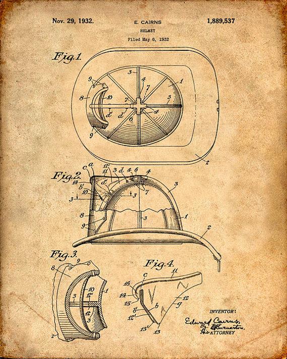570x713 Patent Print Of A Fire Helmet Patent Art Print