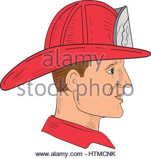 305x320 Sketch Helmet Firefighter Stock Photo 74389377